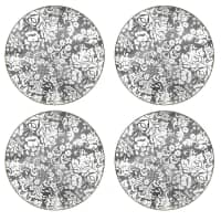 Portmeirion Pimpernel - Damask Silver Round Placemats Set Of 4