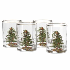 Spode Christmas Tree - Double Old Fashioned Tumbler Set Of 4