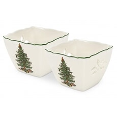 Spode Christmas Tree Pierced Votives With Tealights Set Of 2
