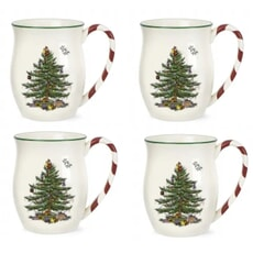 Spode Christmas Tree Mug With Peppermint Handles Set Of 4