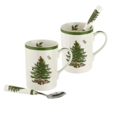 Spode Christmas Tree - 4 Piece Mug And Spoon Set
