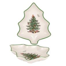 Spode Christmas Tree - Tree Shaped Dishes Set Of 2