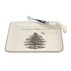 Spode Christmas Tree - Cheese Plate With Knife