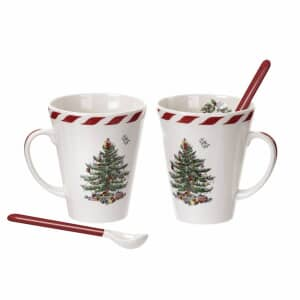 Spode Christmas Tree - Peppermint Mugs With Spoons Set Of 2