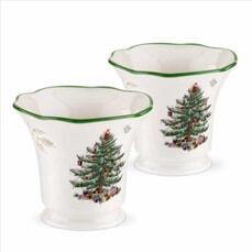 Spode Christmas Tree - Pierced Tealight Holder Set Of 2
