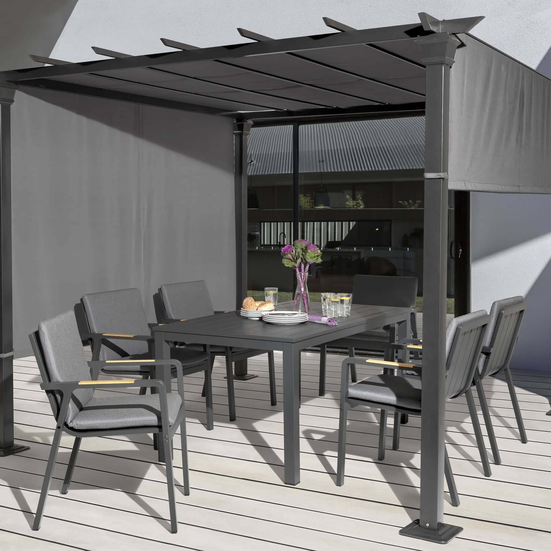Kettler Paros 8 Seater Garden Dining Table And Chairs Set Grey: Kettler Paros 6 Seater Dining Set