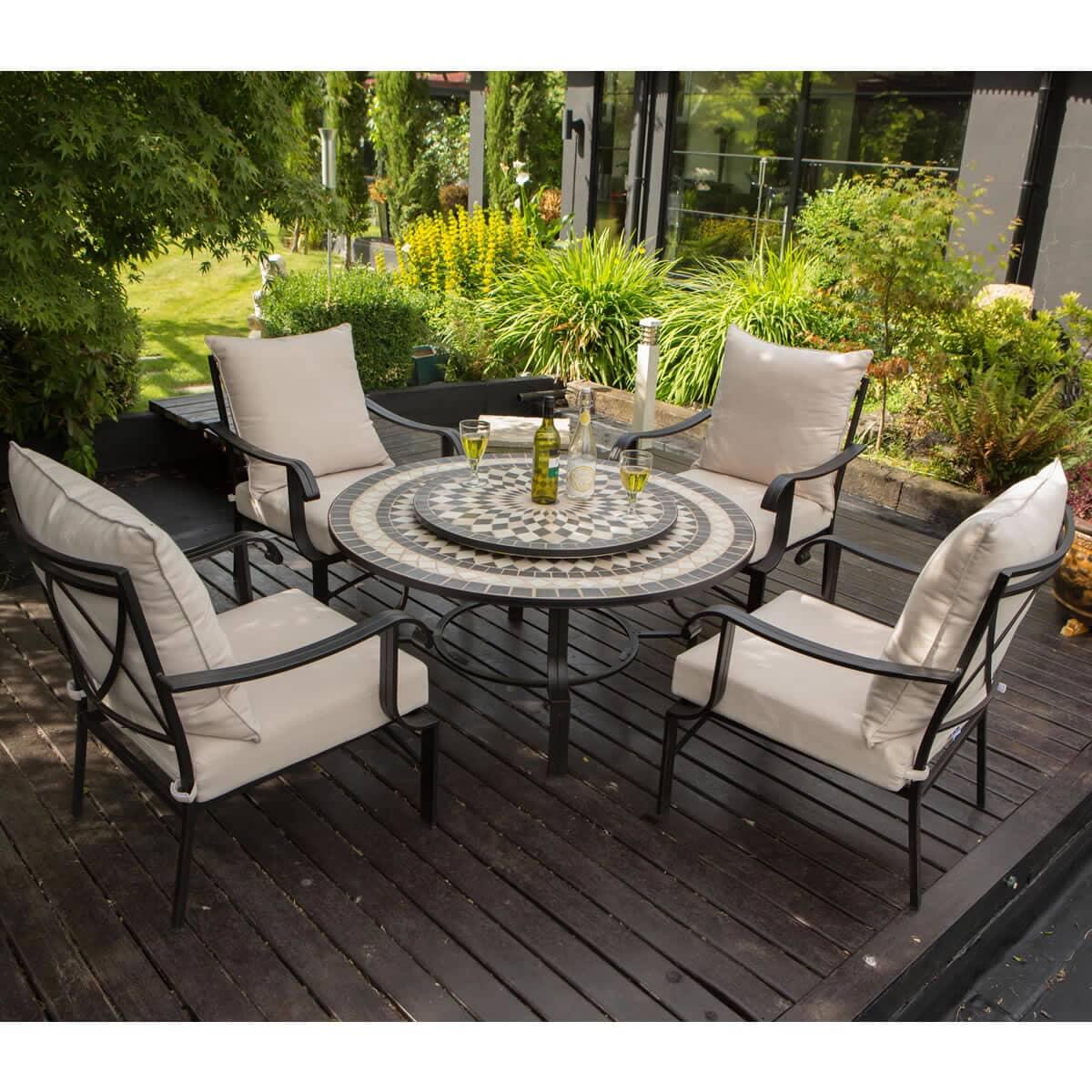 Lg Outdoor Casablanca 4 Seat Charcoal Firepit Lounge Set