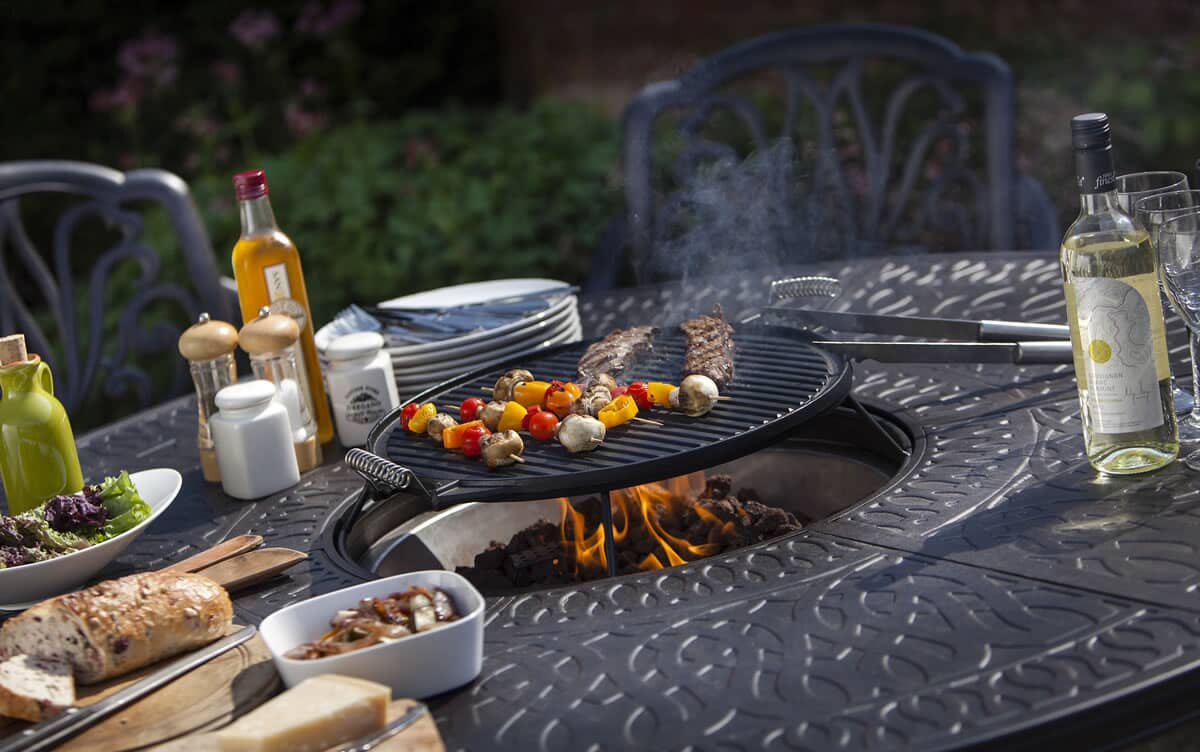 Hartman Amalfi 6 Seat Gas Firepit Grilling Set Hamset01