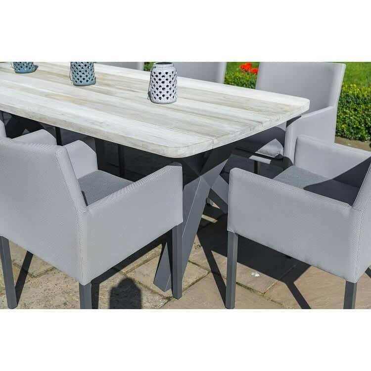 lg outdoor stockholm 8 seat teak top dining set stkset3 garden furniture world. Black Bedroom Furniture Sets. Home Design Ideas
