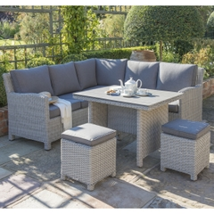 Kettler Palma Mini Corner Garden Furniture Set White Wash (Slat Top)