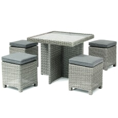 Kettler Palma Cube Set White Wash (Glass Top Table)