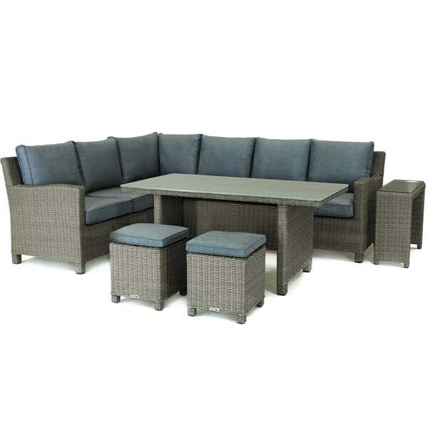 Kettler Palma Round Set Rattan With Taupe Cushions