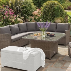Kettler Palma Grande Casual Dining Set Rattan with Taupe Cushions
