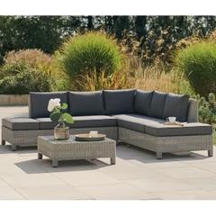 Kettler Palma Low Lounge Set Whitewash with Grey Taupe Cushions