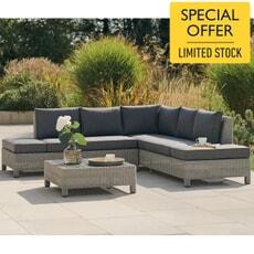 Kettler Palma Low Lounge Corner Set Whitewash with Grey Taupe Cushions