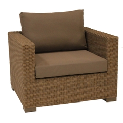 Life Maui Lounge Armchair Light Brown With Taupe Cushions