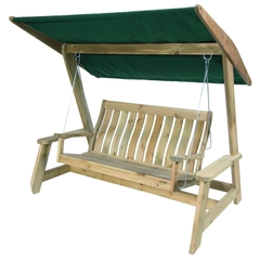 Alexander Rose Pine Farmers Swing Seat with Green Canopy