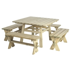 Pine Table and 4 Benches 1.1m x 1.1m