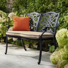 Hartman Capri 2 Seat Bench w/cushions Traditional Bronze/Amber