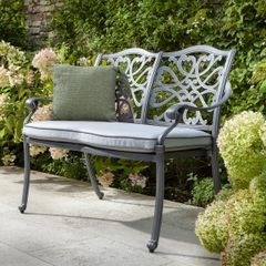 Hartman Capri 2 Seat Bench w/cushion Antique Grey