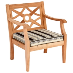 Alexander Rose Mahogany Heritage Lounge Armchair w/ Lilac Cushions