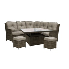 Katie Blake Seville Natural High Dining HI / LO Compact Corner Set with Taupe Cushions