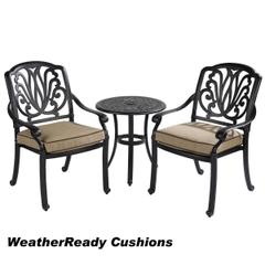 Hartman Amalfi Bistro Set Weatherready Cushions Bronze/Fawn