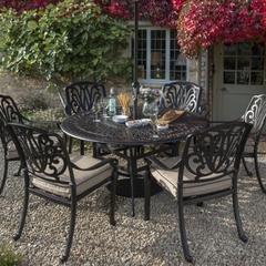 Hartman Amalfi 6 Seat Round Table Set with Lazy Susan Bronze/Amber