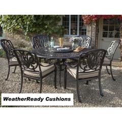 Hartman Amalfi 6 Seat Round Table Set Weatherready Cushions Bronze/Fawn