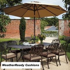 Hartman Amalfi 8 Seat Rectangular Table Set Weatherready Cushions Bronze/Fawn