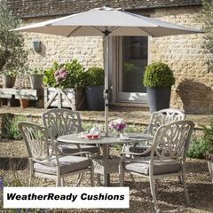 Hartman Amalfi 4 Seat Round Table Set Weatherready Cushions Maize/Taupe