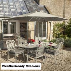 Hartman Amalfi 6 Seat Oval Table Set Weatherready Cushions Maize/Taupe