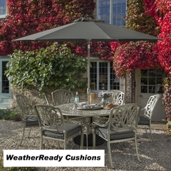 Hartman Amalfi 6 Seat Round Table Set Weatherready Cushions Maize/Taupe