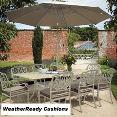 Hartman Amalfi 8 Seat Rectangular Table Set Weatherready Cushions Maize/Taupe