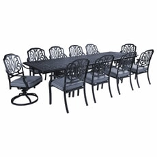 Hartman Amalfi Comfort 10 Seat Extendable Table with 2 Swivel Chairs Antique Grey/Platinum