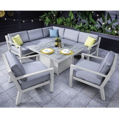 Hartman Apollo Glacier Square Gas Fire Pit Casual Dining Set With Lounge Chairs