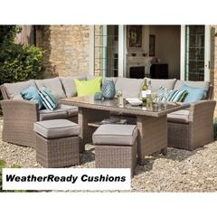Hartman Madison/Appleton Rectangular Casual Dining Set Weatherready Cushions Bark/Sand With Cover