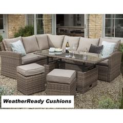 Hartman Madison/Appleton Rectangular Adjustable Casual Dining Set Weatherready Cushions  Bark/Sand