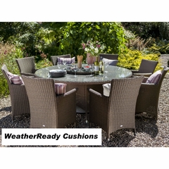 Hartman Appleton 8 Seat Round Set with Lazy Susan Weatherready Cushions Bark/Sand