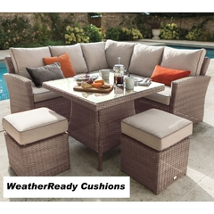 Hartman Madison/Appleton Square Casual Dining Set Weatherready Cushions Bark/Sand