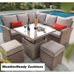 Hartman Madison/Appleton Square Casual Dining Adjustable Table Set Weatherready Cushions Bark/Sand