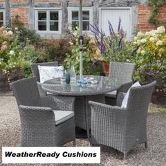 Hartman Appleton 4 Seat Round Table Set Weatherready Cushions Slate/Stone