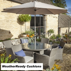 Hartman Appleton 6 Seat Round Table Set with Lazy Susan Weatherready Cushions Slate/Stone