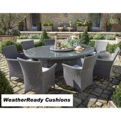 Hartman Appleton 6 Seat Elliptical Table Set with Lazy Susan Weatherready Cushions Slate/Stone