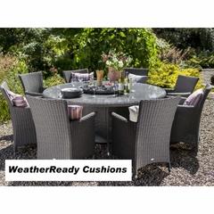 Hartman Appleton 8 Seat Round Table Set with Lazy Susan Weatherready Cushions Slate/Stone