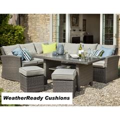 Hartman Madison/Appleton Rectangular Casual Dining Set Weatherready Cushions Slate/Stone with Cover