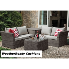Hartman Madison/Appleton Cushion Storage Table Corner Set Weatheready Cushions Slate/Stone