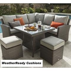 Hartman Madison/Appleton Square Casual Dining Set Weatherready Cushions Slate/Stone