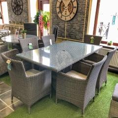 Hartman Appleton 6 Seat Rectangular Table Set Weatherready Cushions Slate/Stone