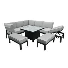Hartman Apollo Comfort Corner Casual Dining Set With Adjustable Table Carbon/Pewter